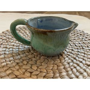 Handmade pottery mint, blue & brown spouted cup